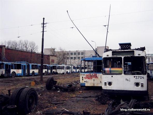 Кладбище троллейбусов в Санкт-Петербурге.