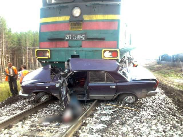 ДТП в Архангельске : ГАЗ-3110 попал под товарный поезд на переезде (ФОТО)